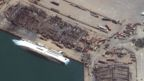 Ship damaged by blast. Satellite image Maxar Technologies