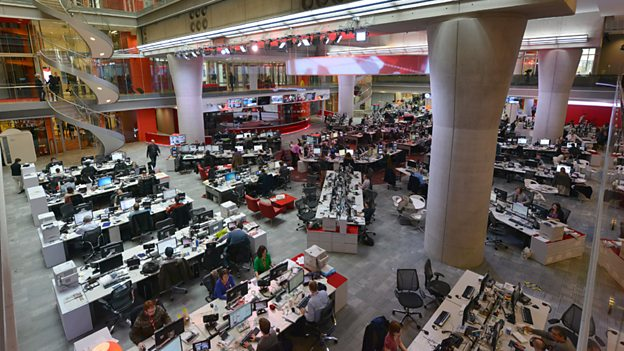 BBC newsroom at New Broadcasting House looking towards the new TV news studio
