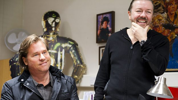 Ricky Gervais and Val Kilmer on the set of Life's Too Short