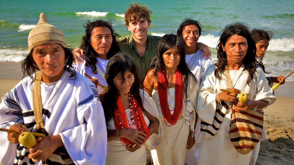 Simon with members of the Kogi tribe on the Caribbean coast of Colombia