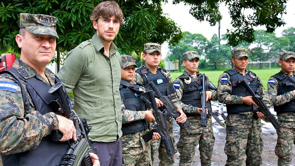 Simon with the San Pedro Sula Military Police