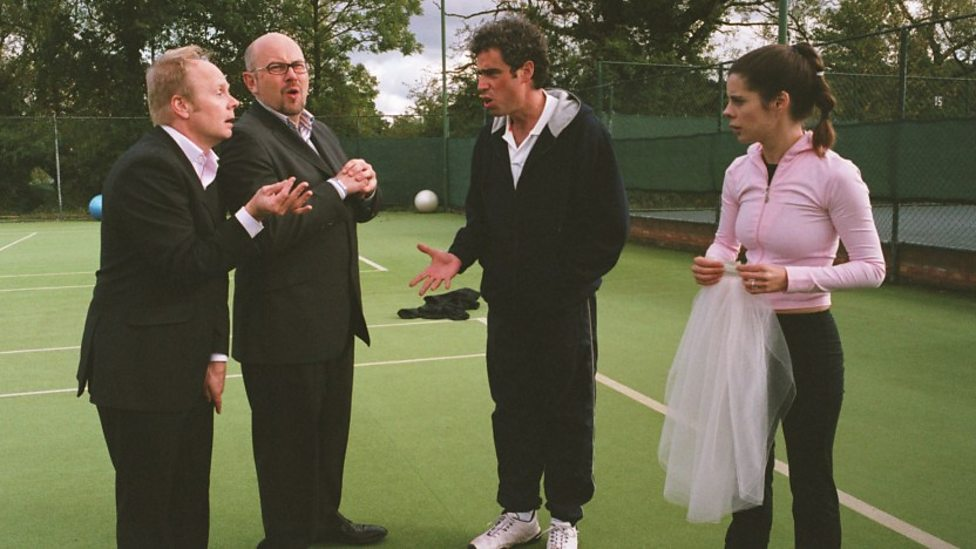 Jason Watkins, Vincent Franklin, Stephen Mangan and Meredith MacNeill and in Confetti