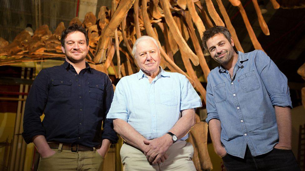 Ben Garrod, Sir David Attenborough and Diego Pol in front of the new giant titanosaur find - Trelew, Argentina