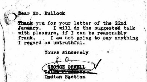 Letter from George Orwell, Talks Producer 1943