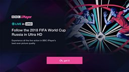BBC announces live Ultra HD and VR trials for World Cup