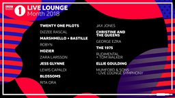 The 1975, Rita Ora, Twenty One Pilots and Mumford & Sons among the 2018 line-up for BBC Radio 1's Live Lounge Month