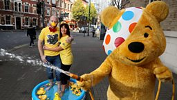 Pudsey, Jo and Barra go 'quackers' for BBC Children in Need