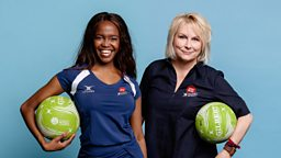 Jennifer Saunders and Oti Mabuse take to the court as Clare Balding presents star-studded Sport Relief netball match