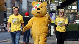 Holly Hamilton, Stephen Clements and Pudsey Bear team up for BBC Children In Need