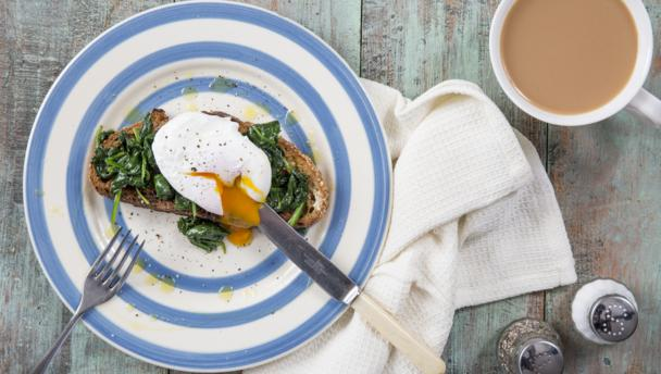 Wilted spinach and poached egg on toast