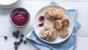 Fennel Welsh cakes with a blueberry coulis