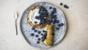 Gluten-free pancakes with blueberries and yoghurt