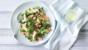 Salmon, avocado, watercress and pumpkin seed salad