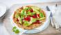 Socca pancakes with roasted peppers and avocado