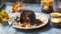 Sticky gingerbread puddings with ginger wine and brandy sauce