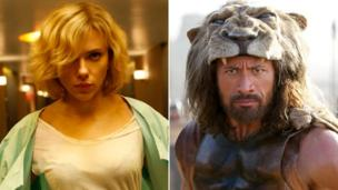 "Scarlett Johansson's action thriller Lucy comes out on top in a box office tussle with Hercules, the latest vehicle for former wrestler Dwayne ""The Rock"" Johnson."