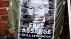 Placard supporting Assange