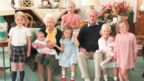 Undated handout image released on 14/04/21 of Queen Elizabeth II and the Duke of Edinburgh with their great grandchildren. Pictured (left to right) Prince George, Prince Louis being held by Queen Elizabeth II, Savannah Phillips (standing at rear), Princess Charlotte, the Duke of Edinburgh, Isla Phillips holding Lena Tindall, and Mia Tindall.
