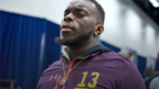 Auburn linebacker Deshaun Davis answers questions from the media during the NFL Scouting Combine