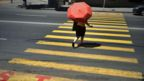 Woman with umbrella using a street crossing in Yerevan, Armenia