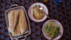 Bread with eggs for breakfast. Bamako, Mali, 5 February 2019.
