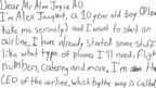 "Alex's letter reads: ""Dear Mr Alan Joyce AO, I'm Alex Jacquot, a 10 year old boy (please take me seriously) and I want to start an airline. I have already started some stuff like what type of planes I'll need, flight numbers, catering and more. I'm the CEO of the airline which by the way is called"""