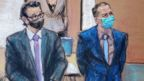 Derek Chauvin and his defence attorney Eric Nelson in Minneapolis, Minnesota, April 13, 2021 in this courtroom sketch