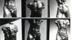 A contact sheet of photographs of a sculptor of a torso