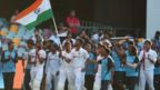 India team celebrate after beating Australia in Brisbane