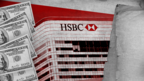 FinCEN Files graphic showing dollar bills, HSBC bank and files
