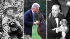 Composite image of a first lady and two presidents with their pets