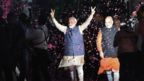 Indian Prime Minister Narendra Modi (L) flashes the victory sign next to president of the ruling Bharatiya Janata Party (BJP) Amit Shah as they celebrate their victory in India's general elections, in New Delhi on 23 May 2019.