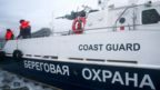 A file picture of the Russian coast guards on an boat