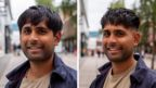 A before and after haircut portrait of Kian Patel