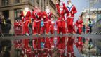 Over seven thousand members of the public taking part in Glasgow's annual Christmas Santa dash through the city centre on 8 December , 2019.