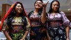 "Panama's Guna indigenous women display molas (Guna""s hand made textile) attend a press conference in Panama City, on May 21, 2019"