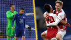 Jorginho looking dejected, Emile Smith Rowe celebrates his goal against Chelsea