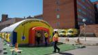 View of a field hospital set up by health authorities next to Arnau de Vilanova Teaching Hospital in Lleida, Catalonia, 3 July