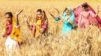 Young women perform the traditional Bhangra dance in a wheat field on the outskirts of Amritsar, India, on 11 April 2021