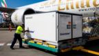 A consignment of the AstraZeneca vaccine arrives in Australia
