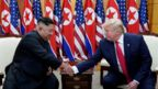 U.S. President Donald Trump shakes hands with North Korean leader Kim Jong Un as they meet at the demilitarized zone separating the two Koreas, in Panmunjom, South Korea, June 30, 2019.