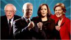 Compilation of Bernie Sanders, Joe Biden, Kamala Harris and Elizabeth Warren