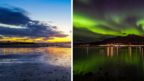 Composite of sunset over a beach and aurora borealis