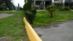 A shin-high barrier in Point Roberts (Credit: Larry Bleiberg)