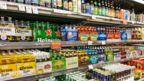 Shelves of alcohol at supermarket