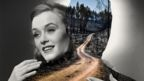 Collage of black and white image of woman's face, and deforested wasteland