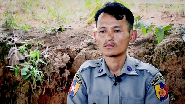 Myanmar police officer John, who has defected to the side of anti-coup protesters